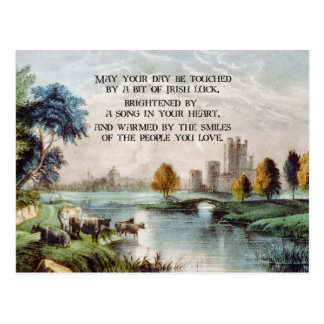 Vintage Irish Blessing and Scenic Castle Landscape Postcard