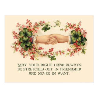 Vintage Irish Blessing, Hands and Shamrocks Postcard