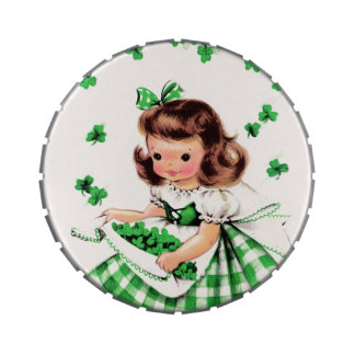 Vintage Irish Girl. St. Patrick's Day Candy Candy Tins