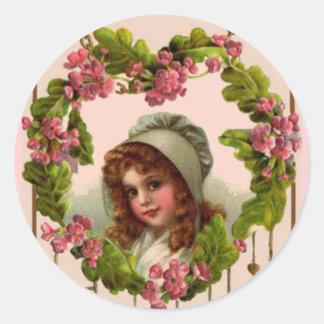 Vintage Irish Girl Sticker Round Sticker