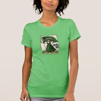 Vintage Irish Girl with Flag on Tee Shirt