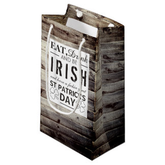 Vintage Irish Wood St Patrick's Day Small Gift Bag