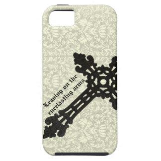 Vintage Iron Christian Cross on Damask Tough iPhone 5 Case