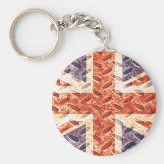 Vintage Iron Texture Union Jack British UK Flag Key Chains