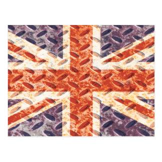 Vintage Iron Texture Union Jack British(UK) Flag Postcard