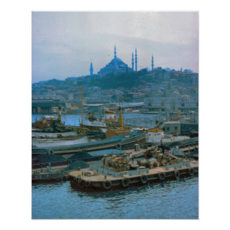 Vintage  Istanbul, Boats on the Bosphoros Poster