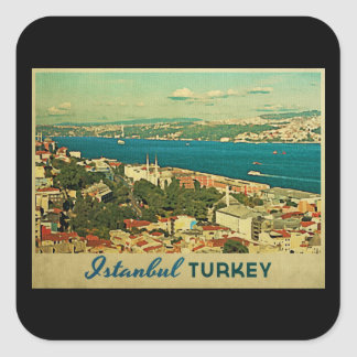 Vintage Istanbul Turkey Square Stickers