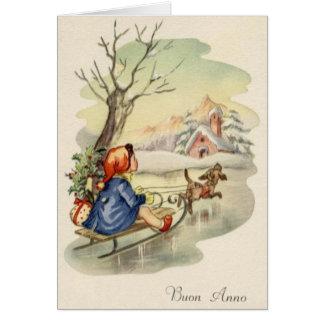 Vintage Italian Buon Anno Happy New Year Card