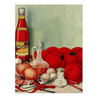 Vintage Italian Food Tomato Onions Peppers Catsup Postcard
