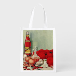 Vintage Italian Food Tomato Onions Peppers Catsup Grocery Bags