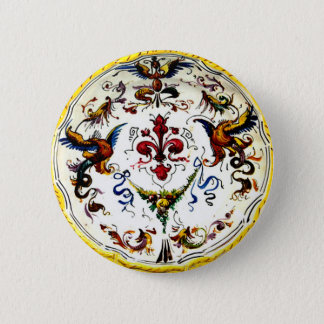 Vintage Italian Majolica Pottery Art Antique 6 Cm Round Badge