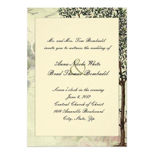 vintage italian myrtle tree wedding invitation 13 cm x 18 With italian paper wedding invitations
