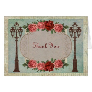 Vintage Italian Street Lamps And Roses Thank You Card