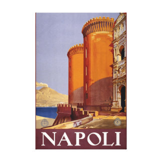 Vintage Italian Travel Poster Of Napoli Italy Canvas Print