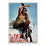 Vintage Italian winter sports ski travel ad Poster