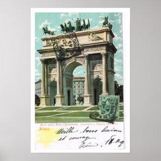 Vintage Italy, Arco della Pace, Milano Poster