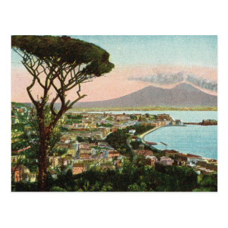 Vintage Italy,  Bay of Naples and Vesuvius Postcard
