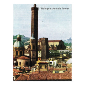 Vintage Italy, Bologna, Asinelli Tower Postcard