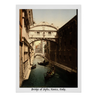 Vintage Italy, Bridge of Sighs Venice Poster