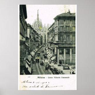 Vintage Italy, Milano, Corso Vittorio Emmanuele Poster