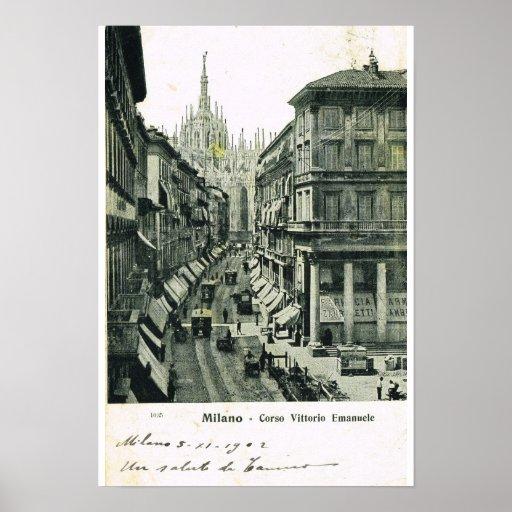 Vintage Italy, Milano, Corso Vittorio Emmanuele Print