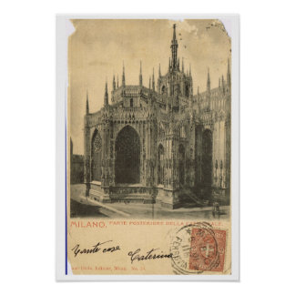 Vintage Italy, Milano, Duomo 1900 Poster