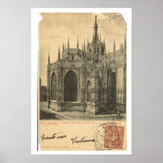 Vintage Italy Milano Duomo 1900 Posters