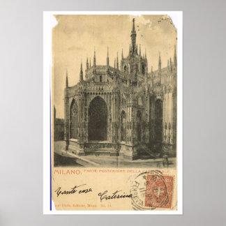 Vintage Italy Milano Duomo 1900 Print