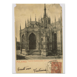 Vintage Italy, Milano, Duomo Poster