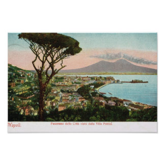 Vintage Italy,  , the bay of Naples and Vesuvius Poster