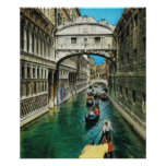 Vintage Italy, Venice, Bridge of Sighs Poster