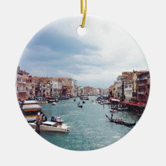 Vintage Italy Venice Canal Photo Ceramic Ornament