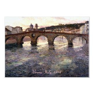 Vintage Italy (Verona, Circa 1894) 13 Cm X 18 Cm Invitation Card