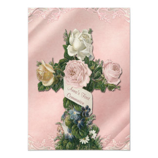 Vintage Ivory and Coral Pink First Communion 13 Cm X 18 Cm Invitation Card