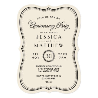 "Vintage Ivory Art Deco Anniversary Party 5"" X 7"" Invitation Card"
