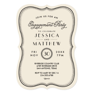 Vintage Ivory Art Deco Engagement Party Card