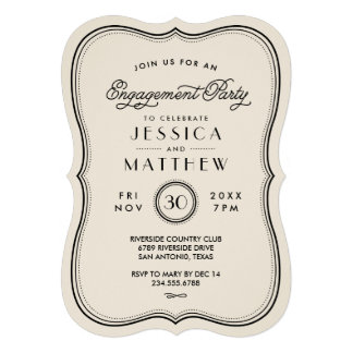 Vintage Ivory Art Deco Engagement Party Personalized Invites