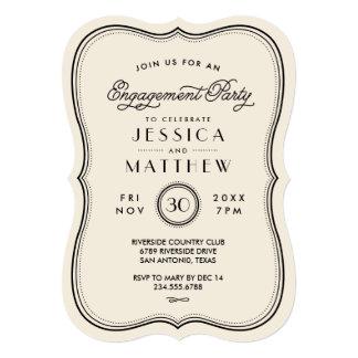 Vintage Ivory Art Deco Engagement Party 13 Cm X 18 Cm Invitation Card
