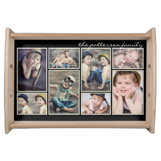 Vintage Ivory Framed Personalized Photo Collage Serving Tray