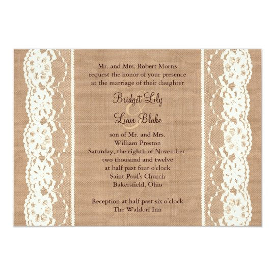 Vintage Ivory Lace and Medium Burlap Invitation