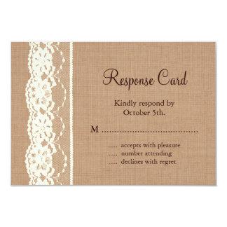 Vintage Ivory Lace and Medium Burlap RSVP 9 Cm X 13 Cm Invitation Card