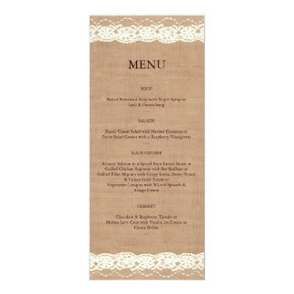 Vintage Ivory Lace & Medium Burlap Menu Card