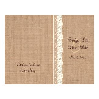 Vintage Ivory Lace & Medium Burlap Wedding Program 21.5 Cm X 28 Cm Flyer