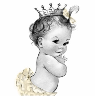Vintage Ivory Princess Baby Girl Shower Standing Photo Sculpture