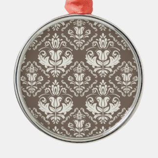 Vintage Ivory Taupe Damask Stylish Pattern Silver-Colored Round Decoration