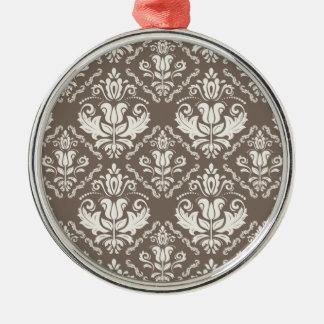 Vintage Ivory Taupe Damask Stylish Pattern Silver-Colored Round Decoration