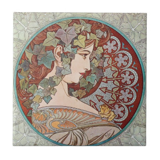 Vintage Ivy Goddess Small Square Tile