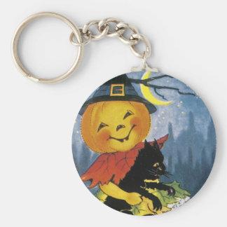 Vintage Jack o' Lantern Child Basic Round Button Key Ring