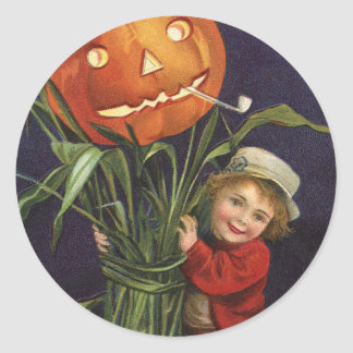 Vintage Jack-o-Lantern Cornstalk and Boy Halloween Classic Round Sticker