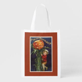 Vintage Jack-o-Lantern Cornstalk and Boy Halloween Reusable Grocery Bag